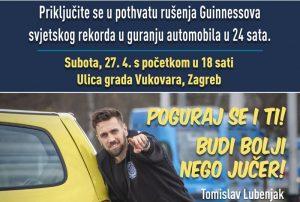 Tomislav Lubenjak, ruši Guinnessov rekord u kategoriji guranja auta u trajanju od 24 sata