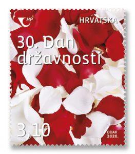 Uz 30. Dan državnosti, prigodna poštanska marka s crvenim i bijelim ružinim laticama